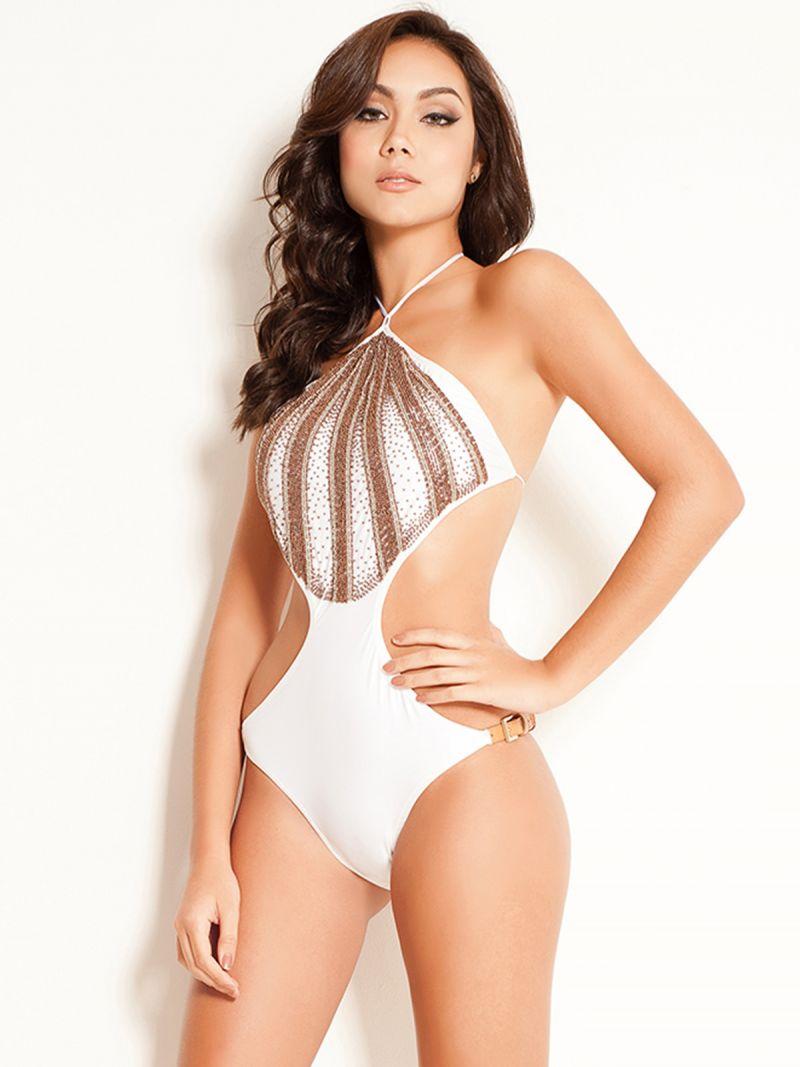 White trikini featuring beads - buckle detail - MAIO UNBELLATA