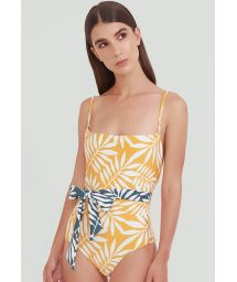 Yellow foliage belted one-piece swimsuit - CINTURA MANGO JUNGLE