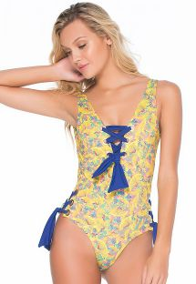 Yellow print one-piece swimsuit with blue lacing - LIMA MARINHO