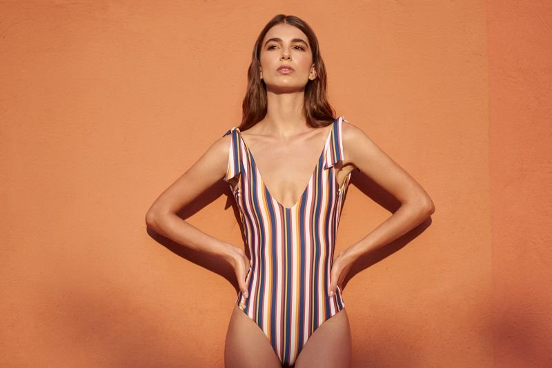Multicolored stripes one-piece swimsuit with plunging neckline - MAIO LAND STRIPES