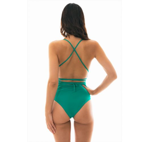 Green 1-piece plunging laced swimsuit - NEW VEGAS MALAQUITA