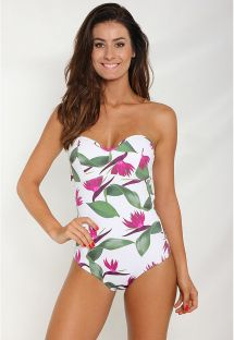 White bustier one-piece swimsuit with flowers - BANANEIRA TROPICAL