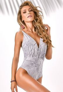 One-piece animal swimsuit plunging neckline - LEBLON