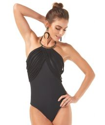 Black one-piece swimsuit with narrow decorative straps and necklace - MAIO COLAR METAL