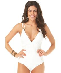 Ecru lace one-piece swimsuit with accessories - MAIO JACQUARD