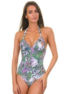 Low-cut one-piece swimsuit with soft padding - MAIO MEG