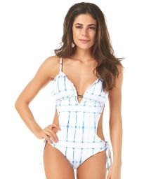 Two-tone Brazilian trikini with a checkered pattern - MAIO RIPPLE