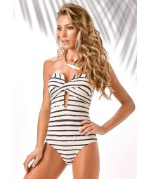 Bustier-style textured one-piece swimsuit, two-tone stripes - PIQUET