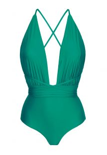 Green plunging one-piece swimsuit with slim back crossed straps - NEW VEGAS MALAQUITA