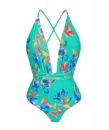 Plunging floral turquoise one-piece swimsuit - ACQUA FLORA NEW VEGAS