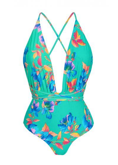 Plunging floral turquoise one-piece swimsuit - ACQUA FLORA NEW VEGAS
