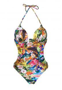 Trikini con relleno en las copas, ymotivos de flores multicolor - ANHINGA