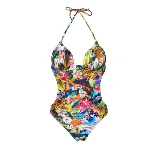 Trikini with cups, multi-coloured and floral - ANHINGA