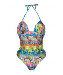 Trikini with cups, tropical and colourful - ANNUMBI
