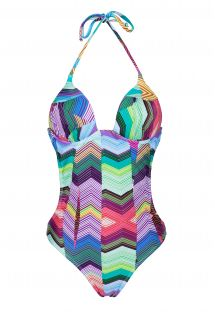 Geometric print trikini with cups - ASTORGA