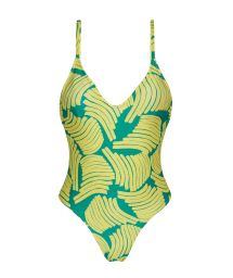 High-leg one-piece swimsuit in green print - BANANA YELLOW HYPE