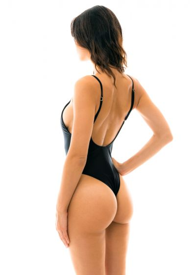 Black classic one-piece swimsuit with adjustable stripes - BEACH BLACK HYPE