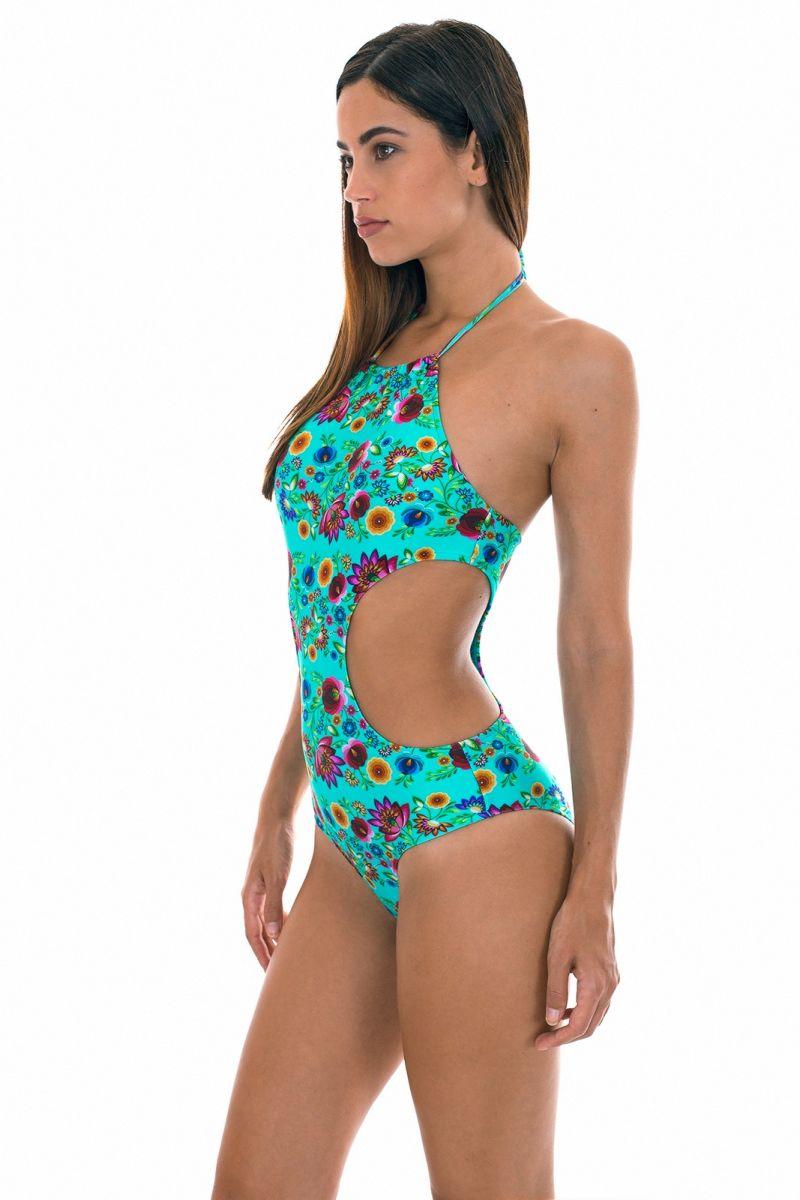 Trikini med blå och turkosa blommor - BLOOM MAIO RECORTE