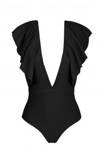 Black plunging one-piece swimsuit with ruffles - BODY BLACK FRILL