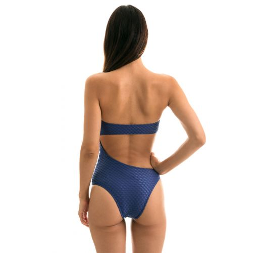 Blue asymmetrical bandeau swimsuit with textured fabric - BODY KIWANDA DENIM RIO