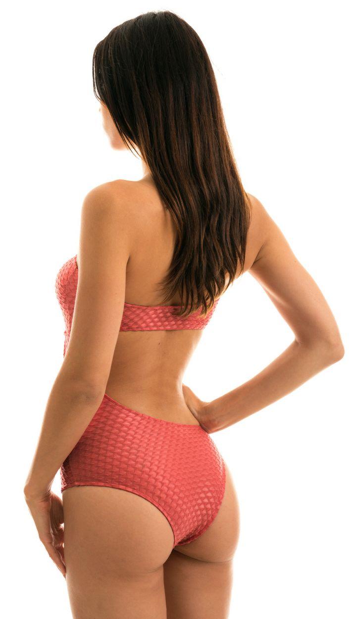 Textured brick color asymmetric bandeau swimsuit - BODY KIWANDA MADRAS RIO