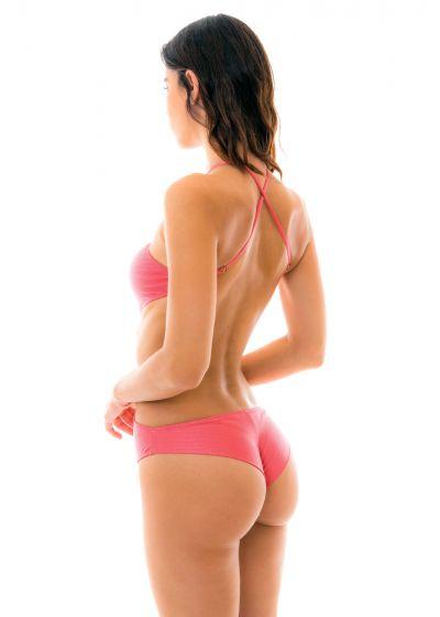Iriserande rosa brasiliansk trikini med hög hals - BODY RECORTE FLORENCE
