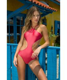 Pink high-neck monokini - BODY RECORTE FLORENCE
