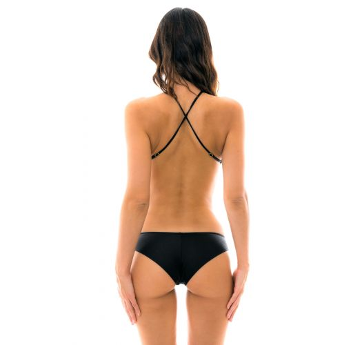 Black Brazilian high-neck monkini - BODY RECORTE PRETO
