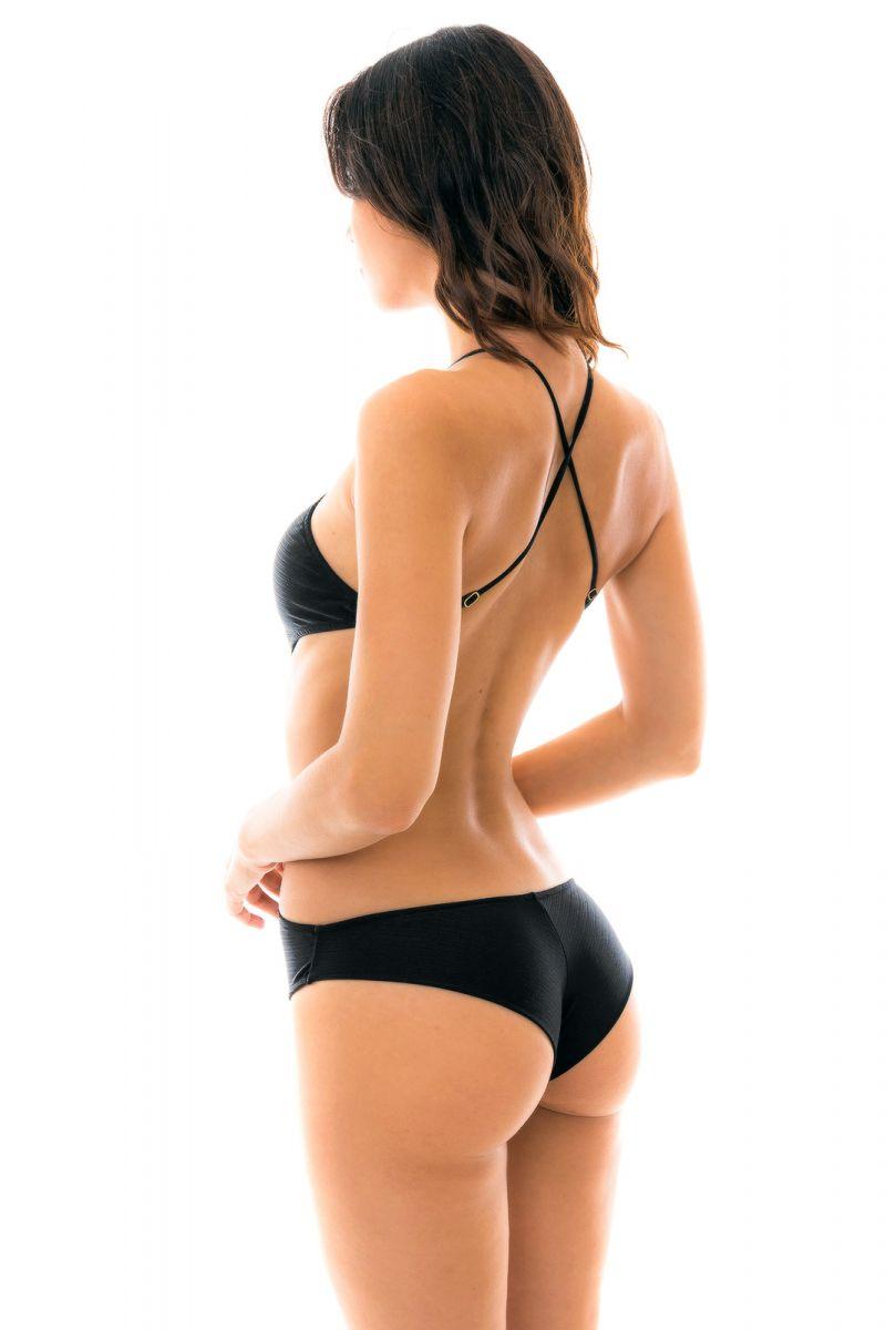 Black Brazilian high-neck monkini - BODY RECORTE PRETO