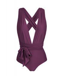 Multi-position plum one-piece swimsuit - BODY SUBLIME MARINA
