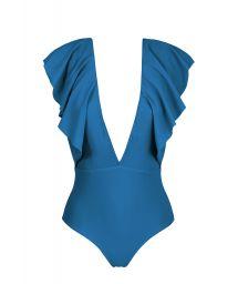 Maillot 1 pièce décolleté plongeant à volants bleu - BODY TURQUIA FRILL