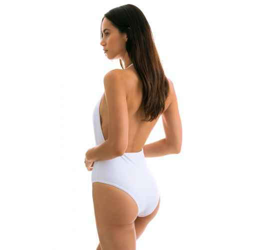White one-piece swimsuit - CLOQUE BRANCO TRANSPASSADO