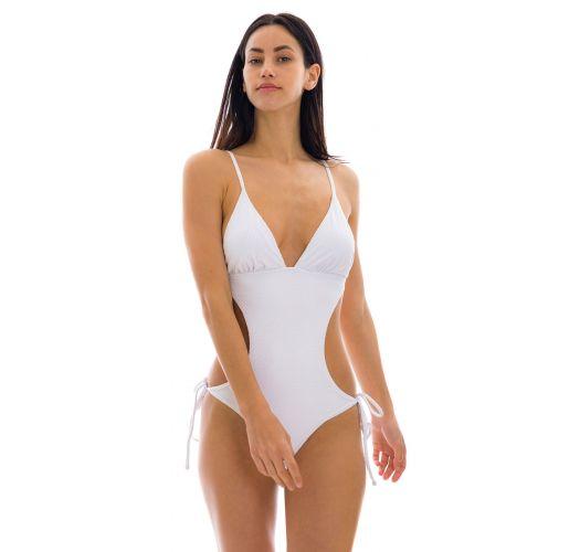 White scrunch monokini with textured fabric - CLOQUE BRANCO TRIK COMFORT