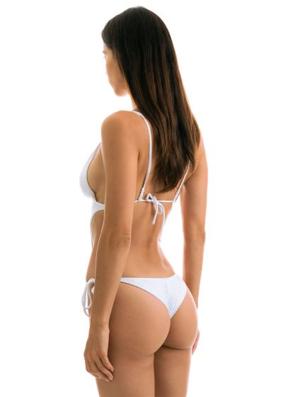 White textured Brazilian scrunch monokini - CLOQUE BRANCO TRIKINI