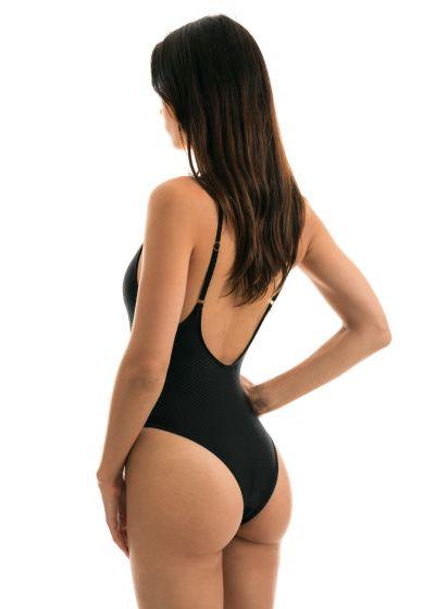 Black textured fabric high-leg swimsuit - CLOQUE PRETO HYPE