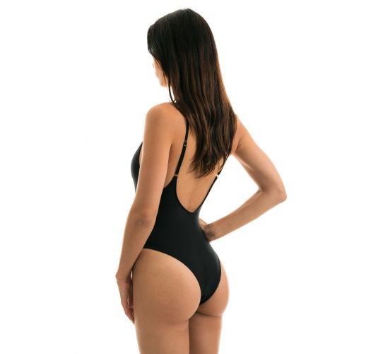 Black textured fabric high-leg swimsuit - CLOQUE PRETO HYPE