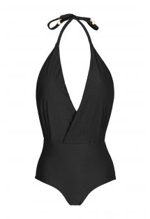 Black textured one-piece swimsuit - CLOQUE PRETO TRANSPASSADO