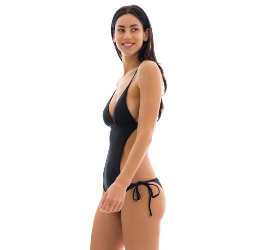 Black scrunch monokini with textured fabric - CLOQUE PRETO TRIK COMFORT