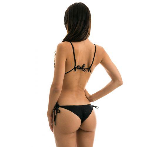 Black textured Brazilian scrunch monokini  - CLOQUE PRETO TRIKINI
