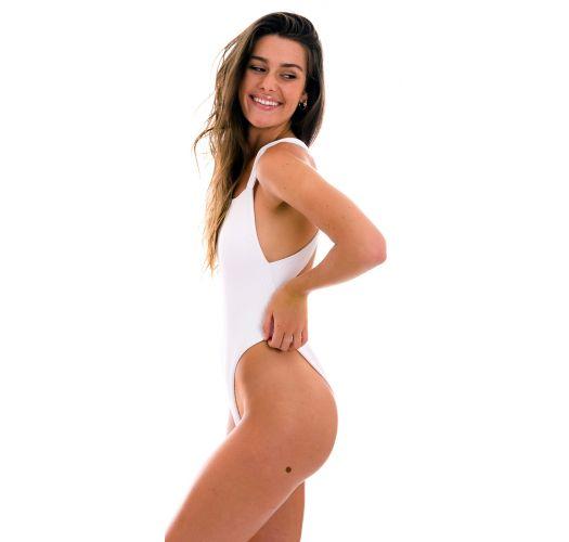 High-Leg-Badeanzug weiß geriffelt, Kreuzträger - COTELE-BRANCO OLIVIA