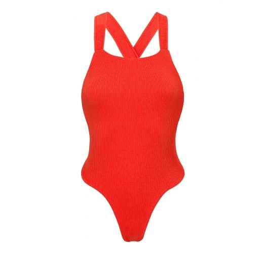 Zeer hoog uitgesneden rood geribd badpak met gekruiste achterzijde - COTELE-TOMATE OLIVIA