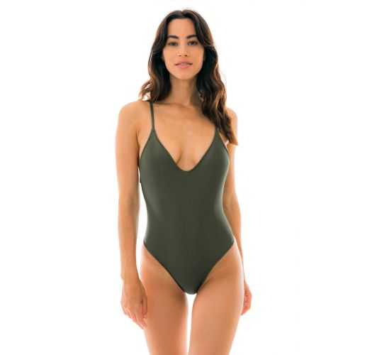 Khaki one-piece swimsuit - CROCO HYPE