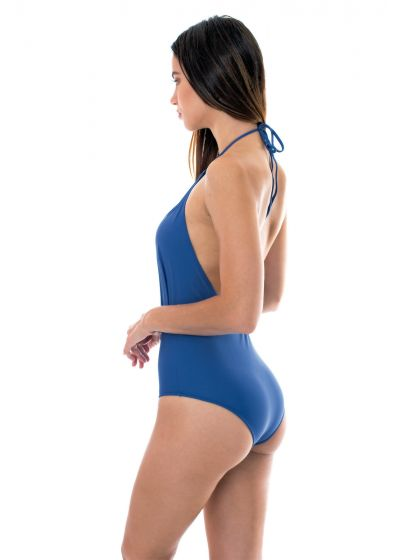 Denim blue low-cut 1-piece swimsuit - DENIM DECOTE PROFUNDO