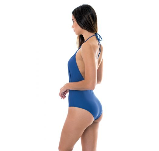 Denim blue low-cut 1-piece swimsuit - DENIM DECOTE PROFUNDO