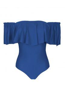 בגד ים חלק אחד בסגנון רצועה צבע כחול עם וולנט רחב - DENIM MAIO BABADO