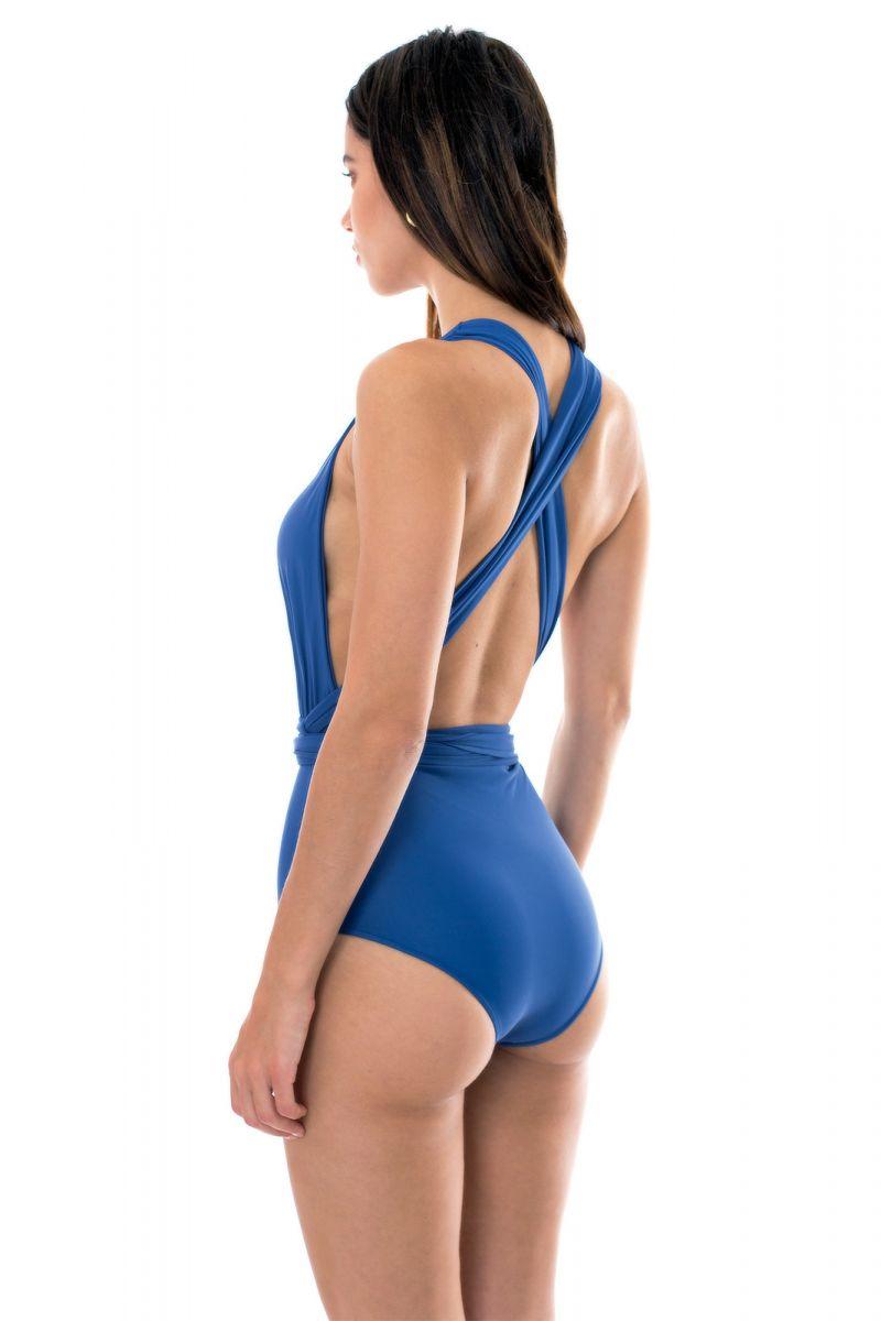 Multi-way denim blue one-piece swimsuit - DENIM VEGAS