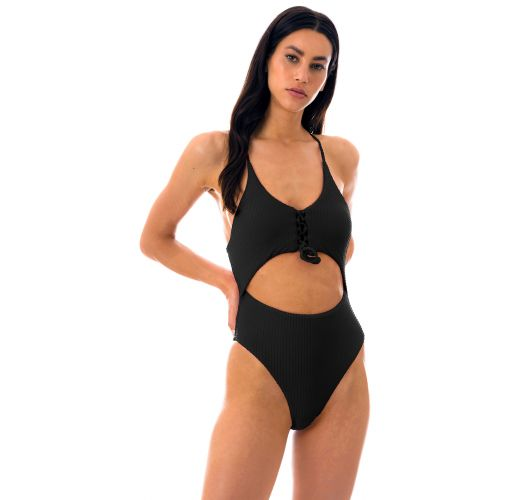 Black textured belly cutout Brazilian one-piece swimsuit - DOTS-BLACK IVY STRAP