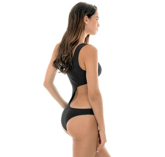 Black asymmetric one shoulder one-piece swimsuit - DUNA BLACK ASSIMETRICO