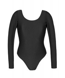 Black textured bathing body glove with long sleeves - DUNA BLACK BODY