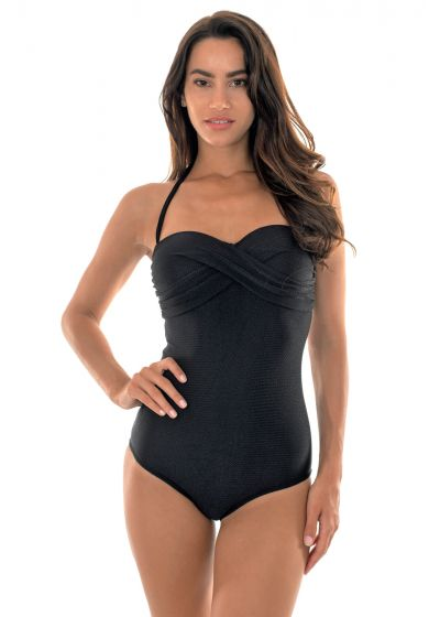 Black textured draped bandeau one-piece swimsuit - DUNA BLACK ONE PIECE
